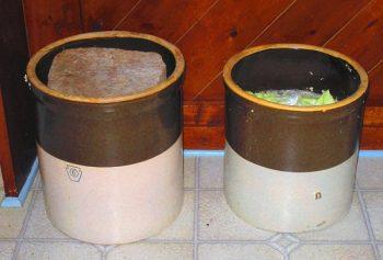 Homemade sauerkraut in crocks