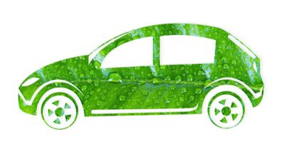 Car silhouette made of green leaf on white background