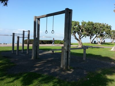 park with gymastic rings