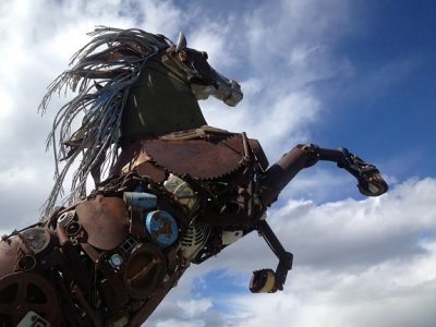 Statue Iron Horse Scrap Art Metal Art Rust Horse