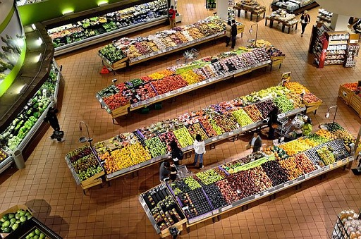 Supermarket with organic food